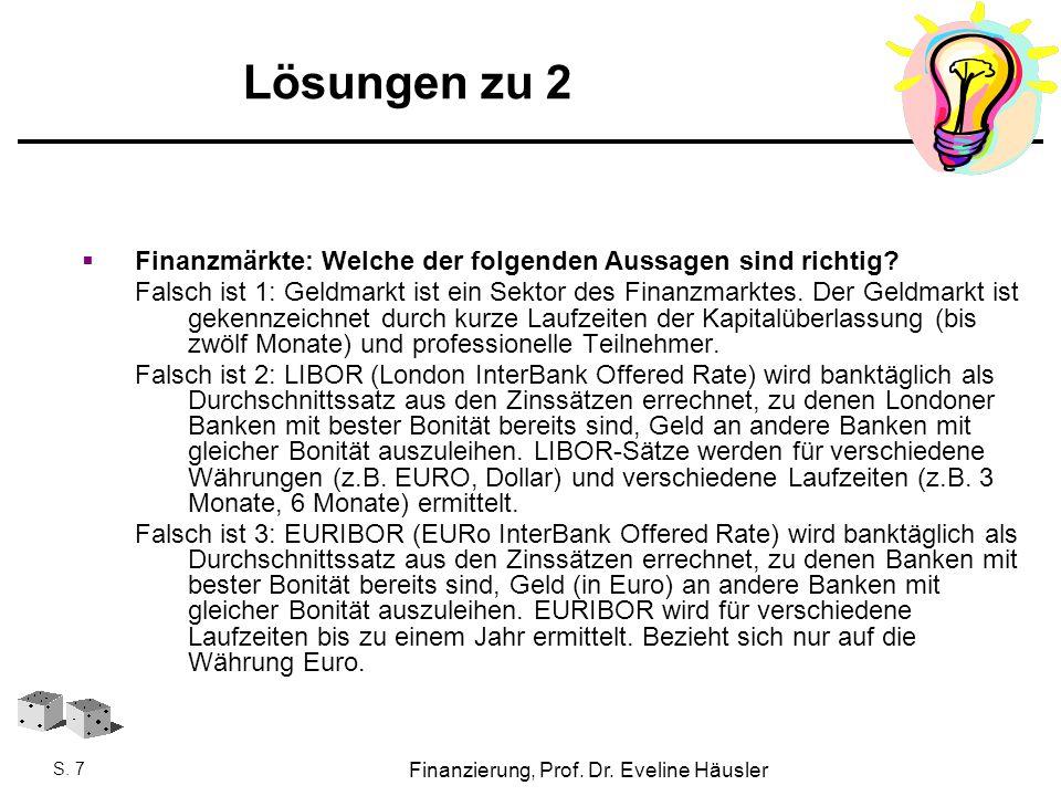 Finanzierung, Prof. Dr. Eveline Häusler