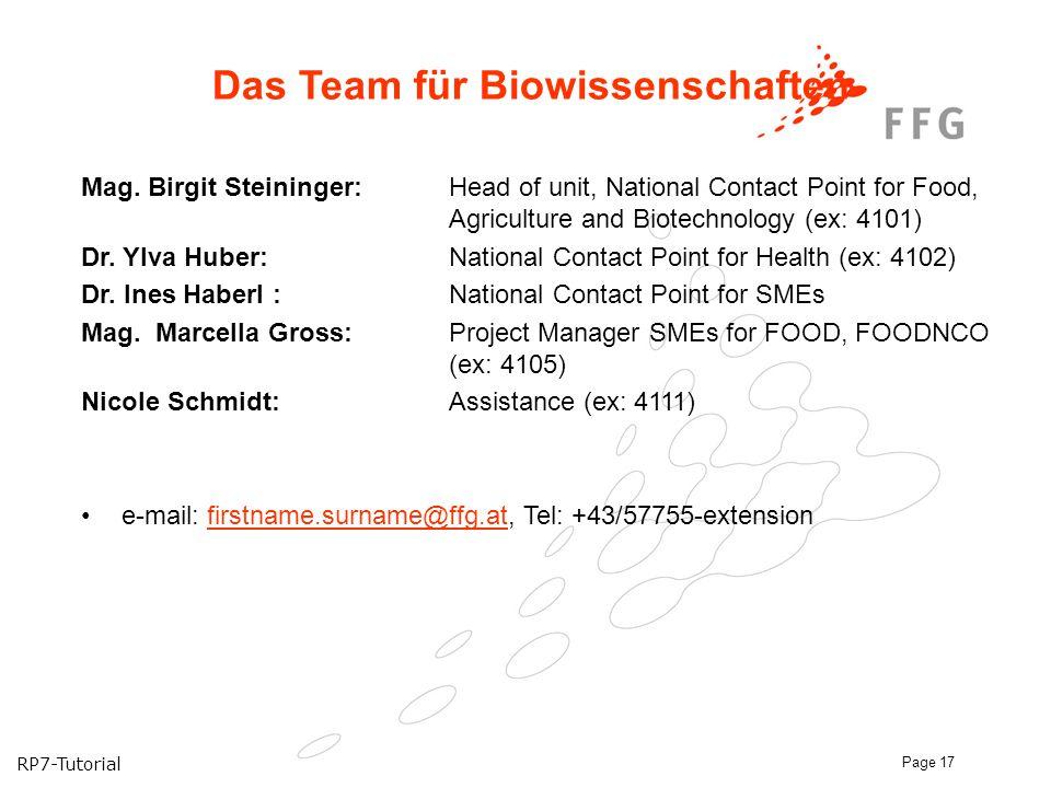 Das Team für Biowissenschaften