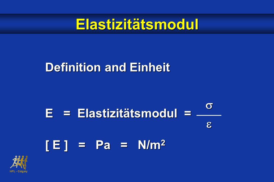 Elastizitätsmodul Definition and Einheit E = Elastizitätsmodul =
