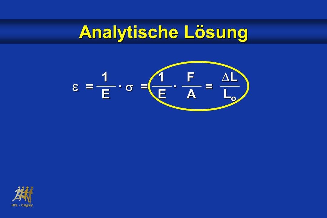 Analytische Lösung 1 E 1 E F A DL Lo e = · s = · =