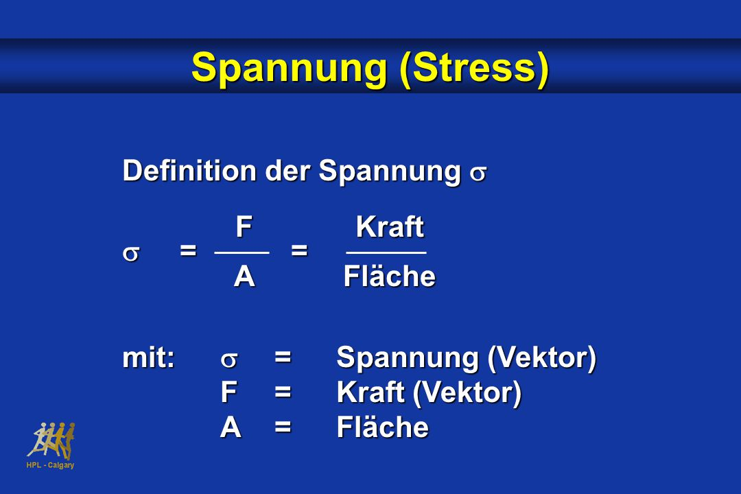 Spannung (Stress) Definition der Spannung s s = = F A Kraft Fläche