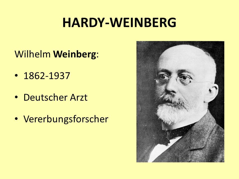 HARDY-WEINBERG Wilhelm Weinberg: 1862-1937 Deutscher Arzt