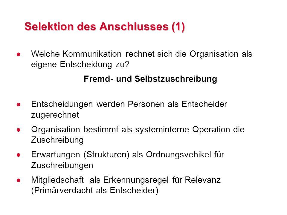 Selektion des Anschlusses (1)