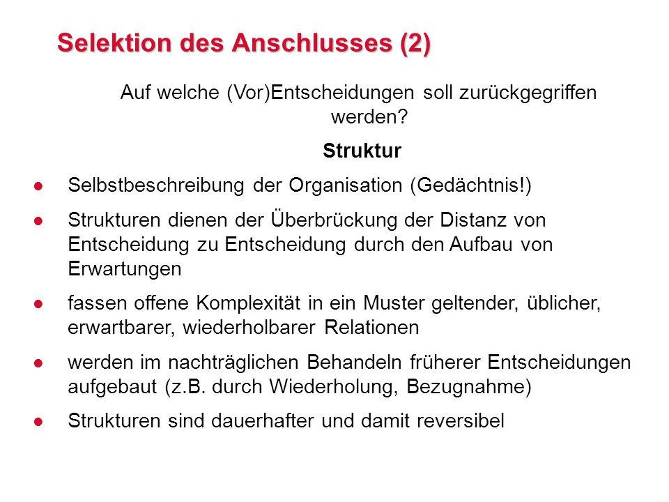Selektion des Anschlusses (2)