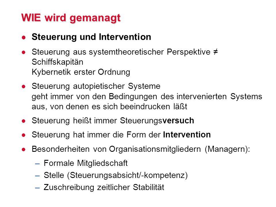 WIE wird gemanagt Steuerung und Intervention