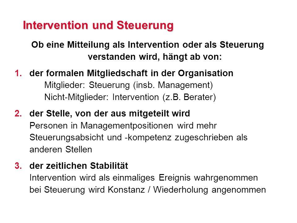 Intervention und Steuerung