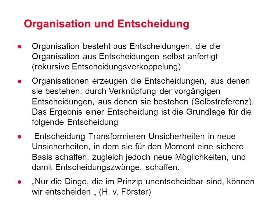 Organisation und Entscheidung