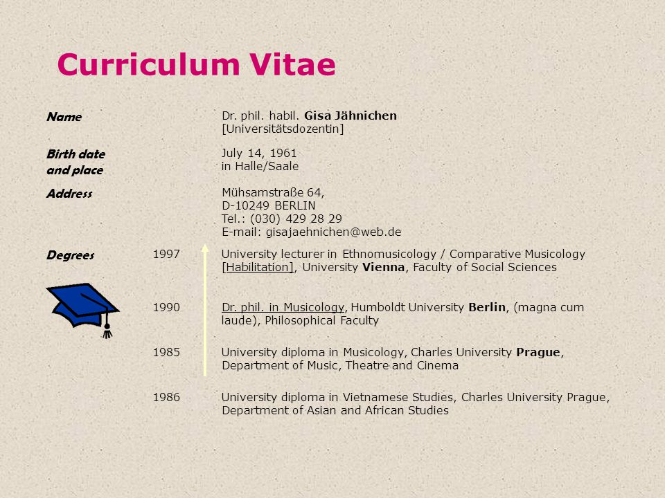Curriculum Vitae Name Birth date and place Address Degrees