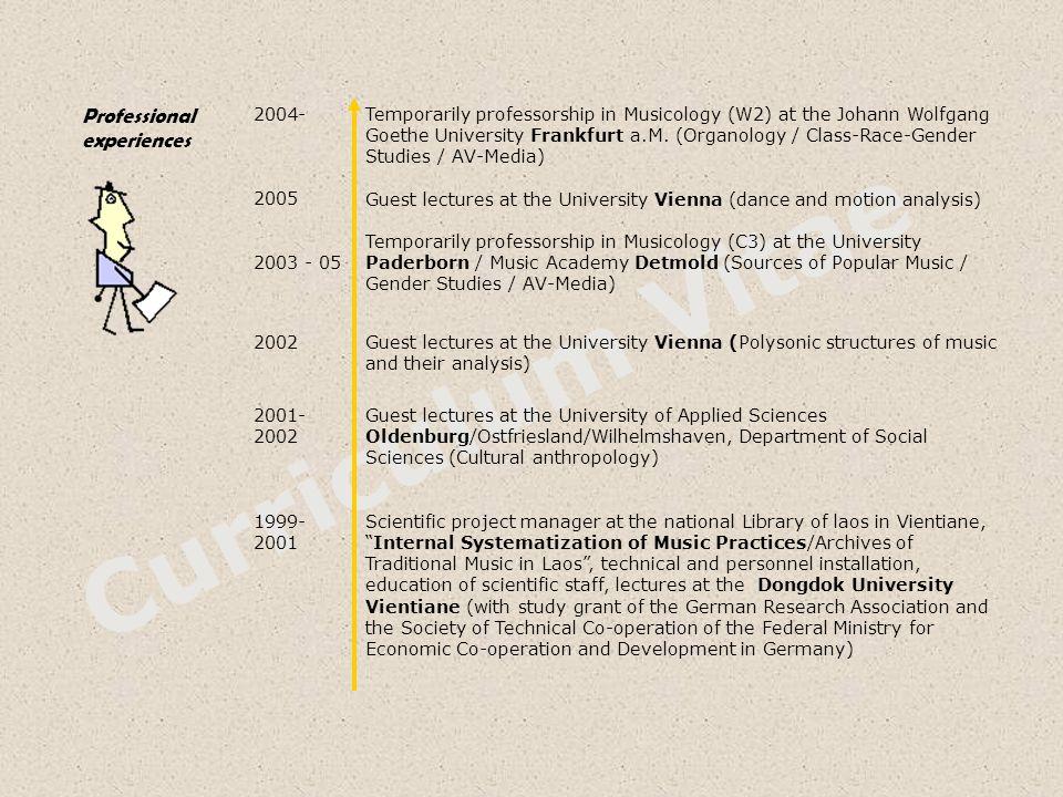 Curriculum Vitae Professional experiences 2004- 2005 2003 - 05