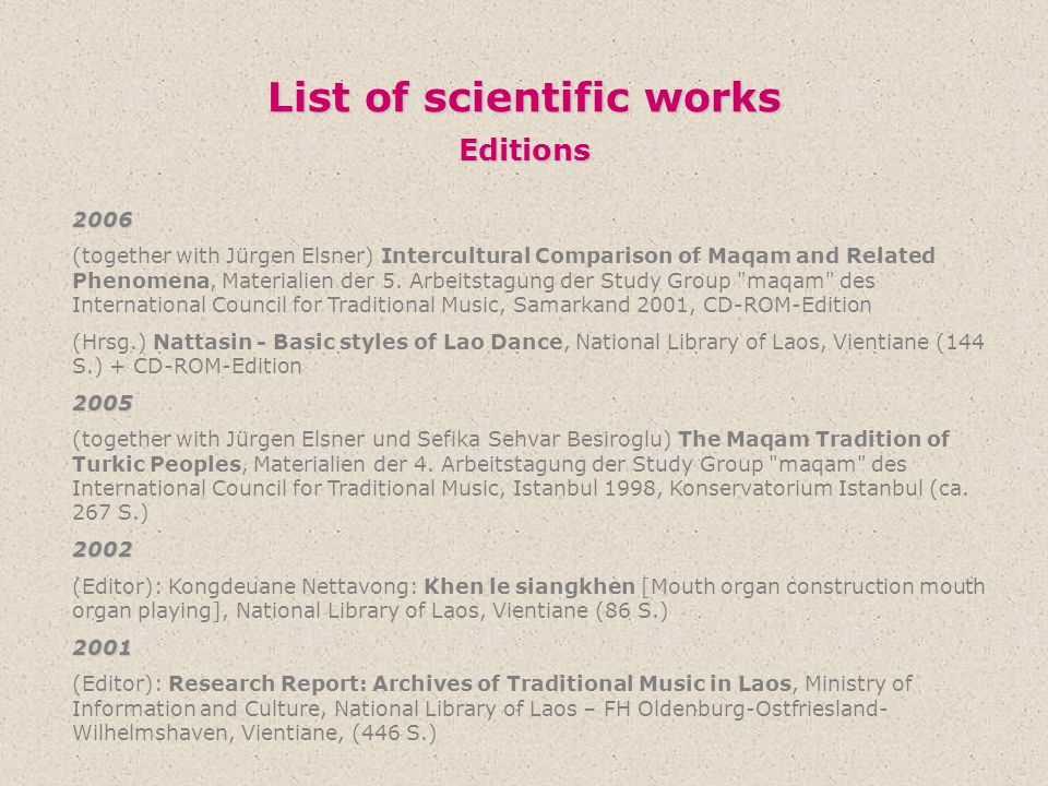 List of scientific works Editions
