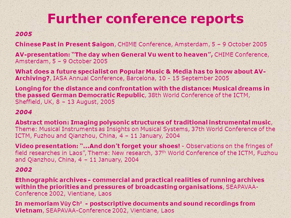 Further conference reports