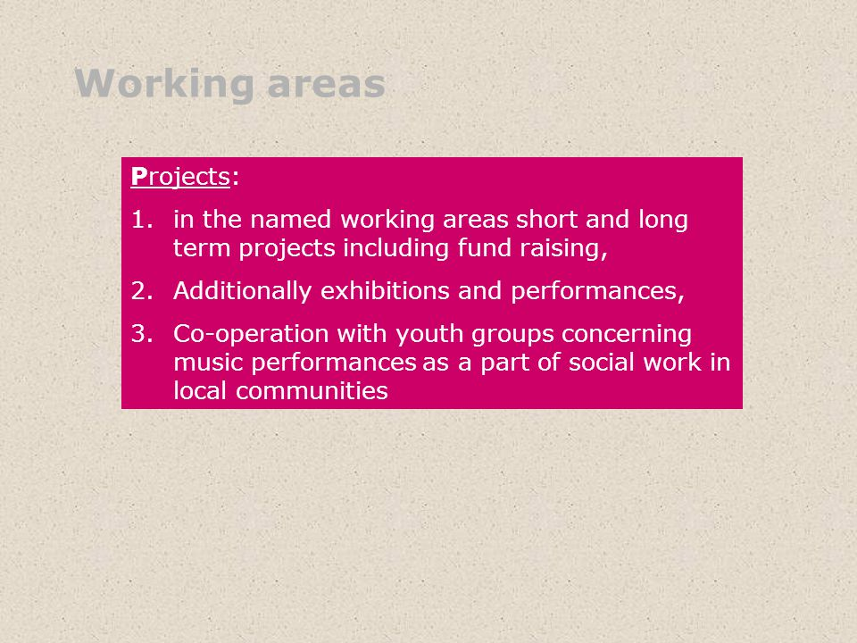 Working areas Projects: