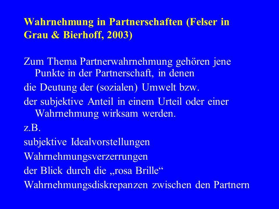 Wahrnehmung in Partnerschaften (Felser in Grau & Bierhoff, 2003)