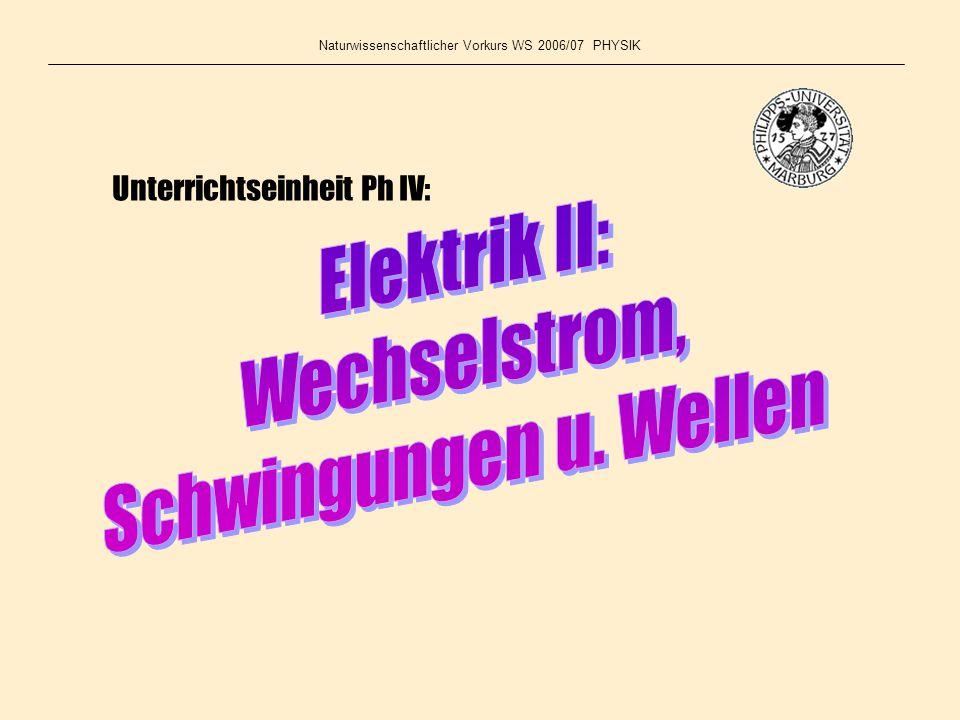 Elektrik II: Wechselstrom, Schwingungen u. Wellen