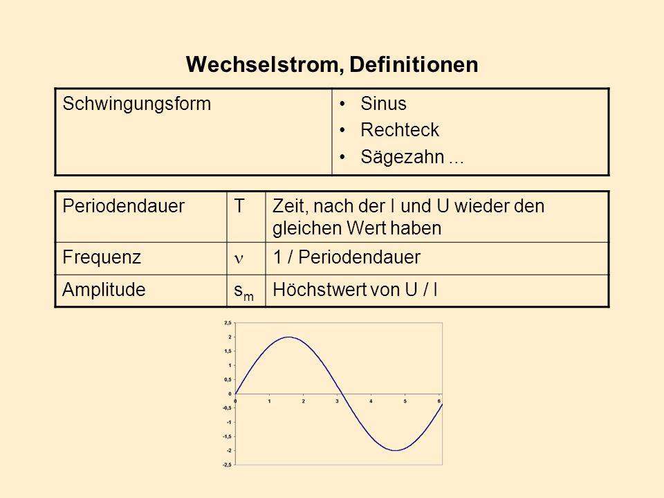 Wechselstrom, Definitionen