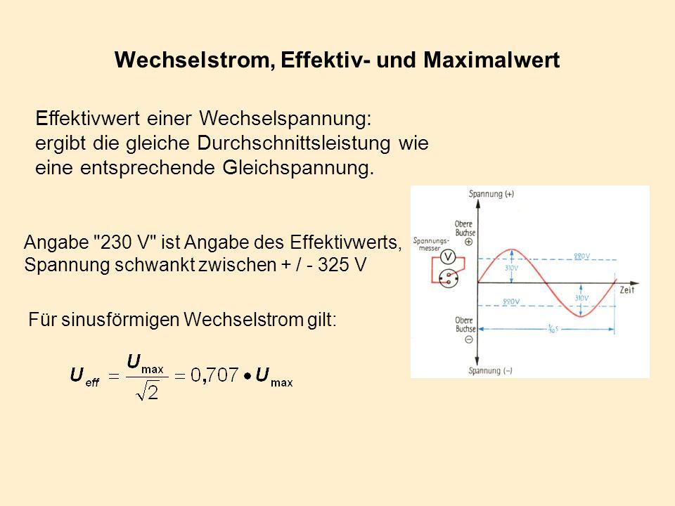 Wechselstrom, Effektiv- und Maximalwert