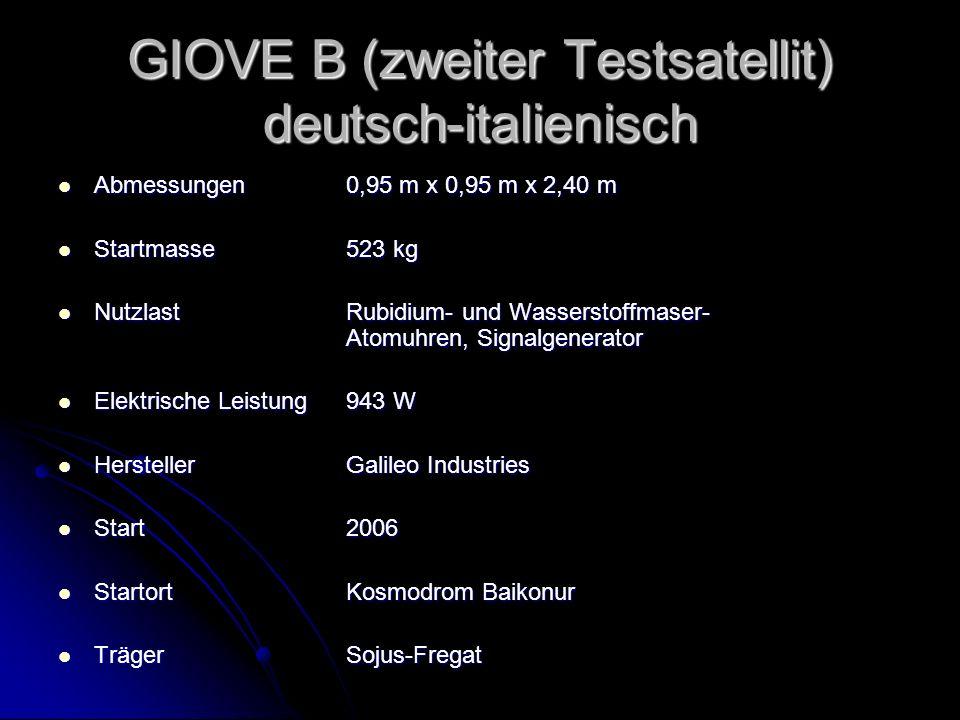 GIOVE B (zweiter Testsatellit) deutsch-italienisch