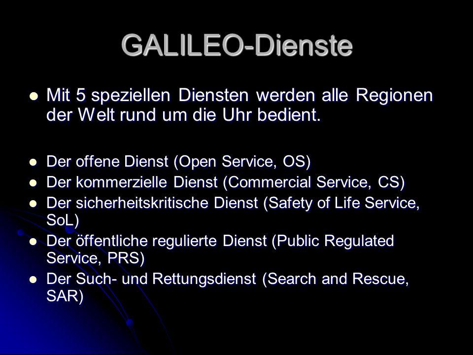 GALILEO-Dienste Mit 5 speziellen Diensten werden alle Regionen der Welt rund um die Uhr bedient. Der offene Dienst (Open Service, OS)