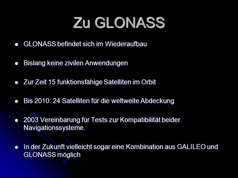 Zu GLONASS GLONASS befindet sich im Wiederaufbau