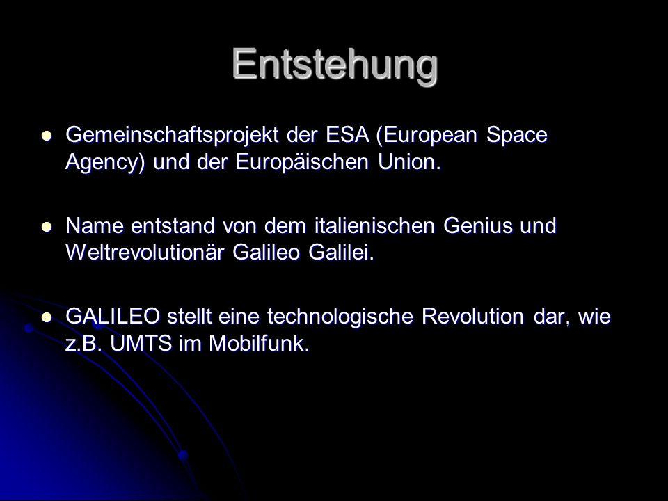Entstehung Gemeinschaftsprojekt der ESA (European Space Agency) und der Europäischen Union.