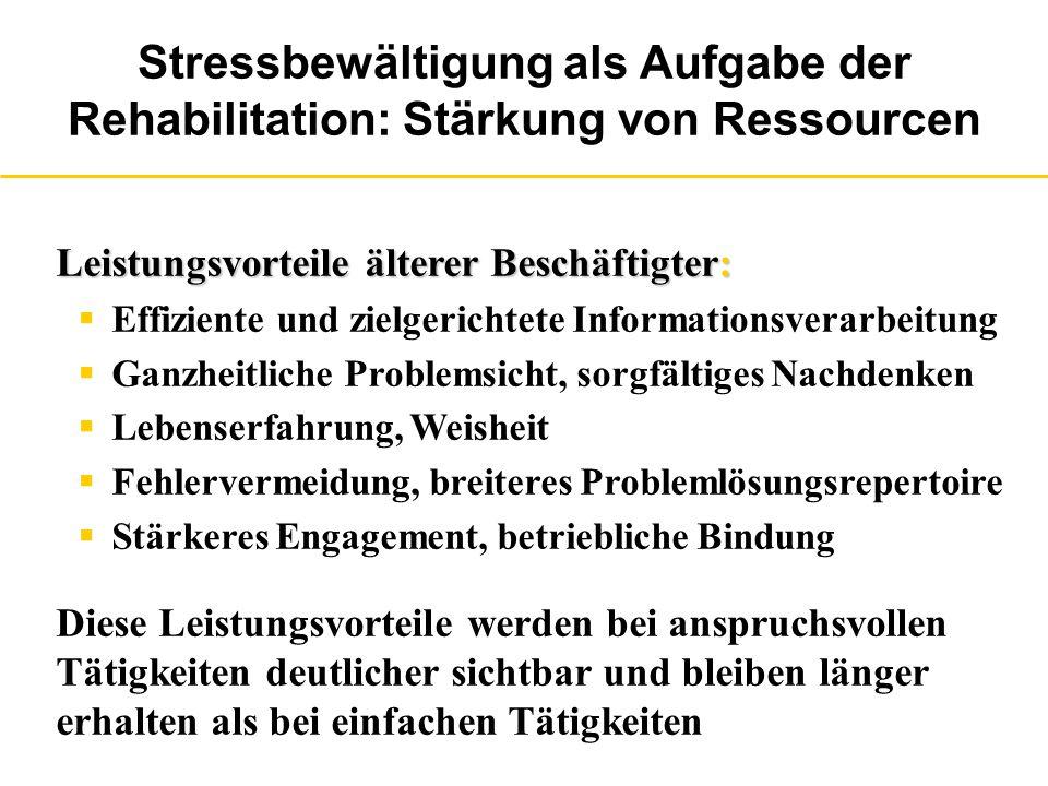 Stressbewältigung als Aufgabe der Rehabilitation: Stärkung von Ressourcen