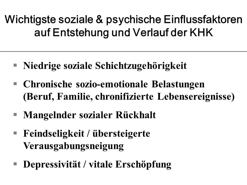 Wichtigste soziale & psychische Einflussfaktoren auf Entstehung und Verlauf der KHK