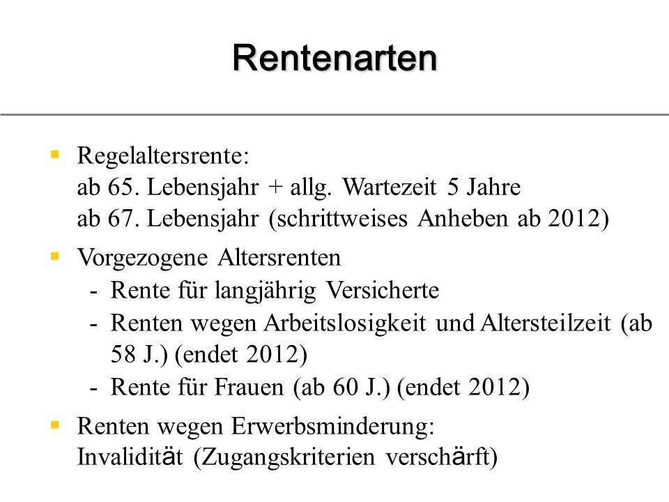 Rentenarten Regelaltersrente: ab 65. Lebensjahr + allg. Wartezeit 5 Jahre ab 67. Lebensjahr (schrittweises Anheben ab 2012)
