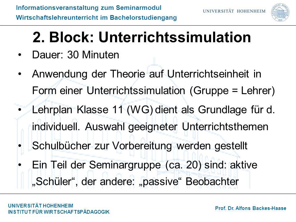 2. Block: Unterrichtssimulation