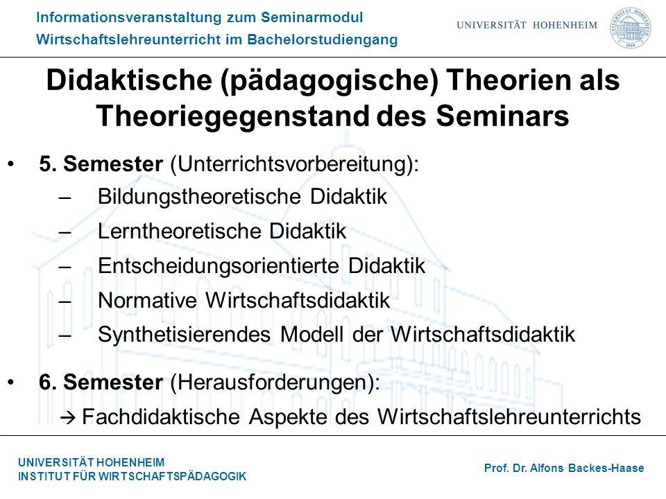 Didaktische (pädagogische) Theorien als Theoriegegenstand des Seminars