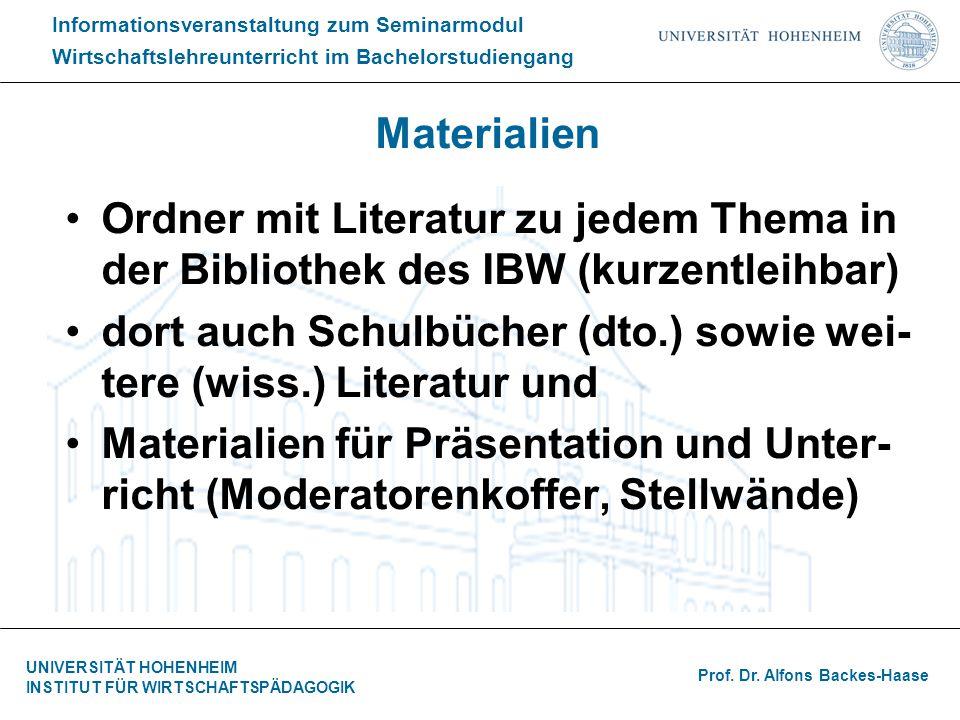 Materialien Ordner mit Literatur zu jedem Thema in der Bibliothek des IBW (kurzentleihbar)