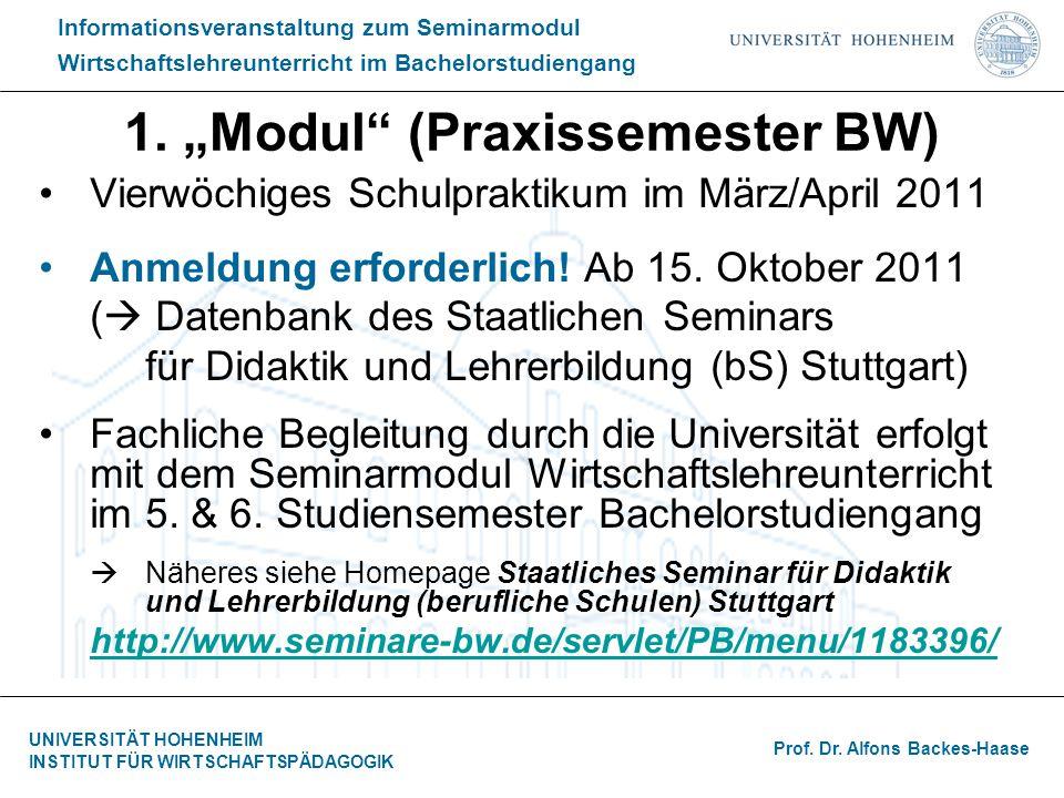 """1. """"Modul (Praxissemester BW)"""