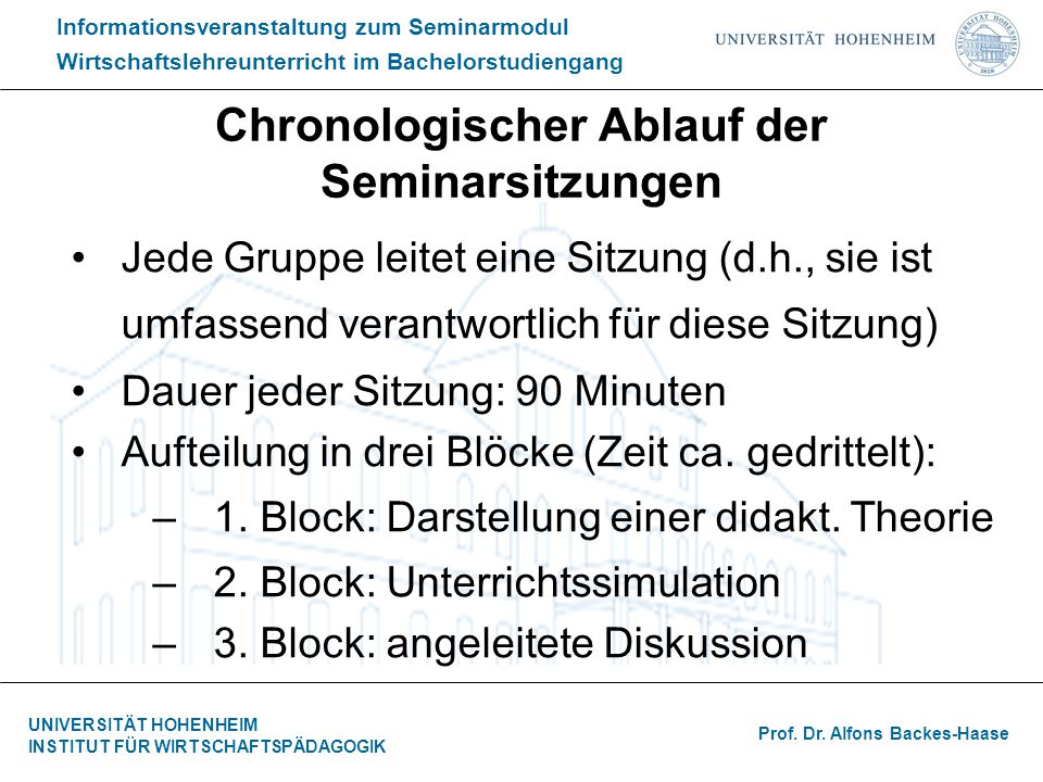 Chronologischer Ablauf der Seminarsitzungen