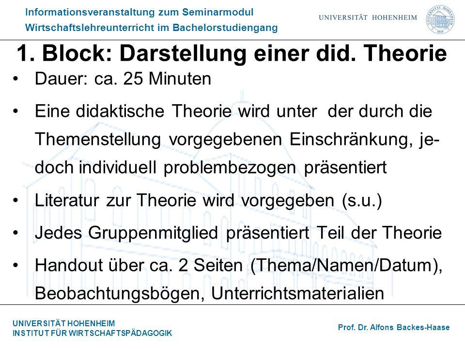 1. Block: Darstellung einer did. Theorie