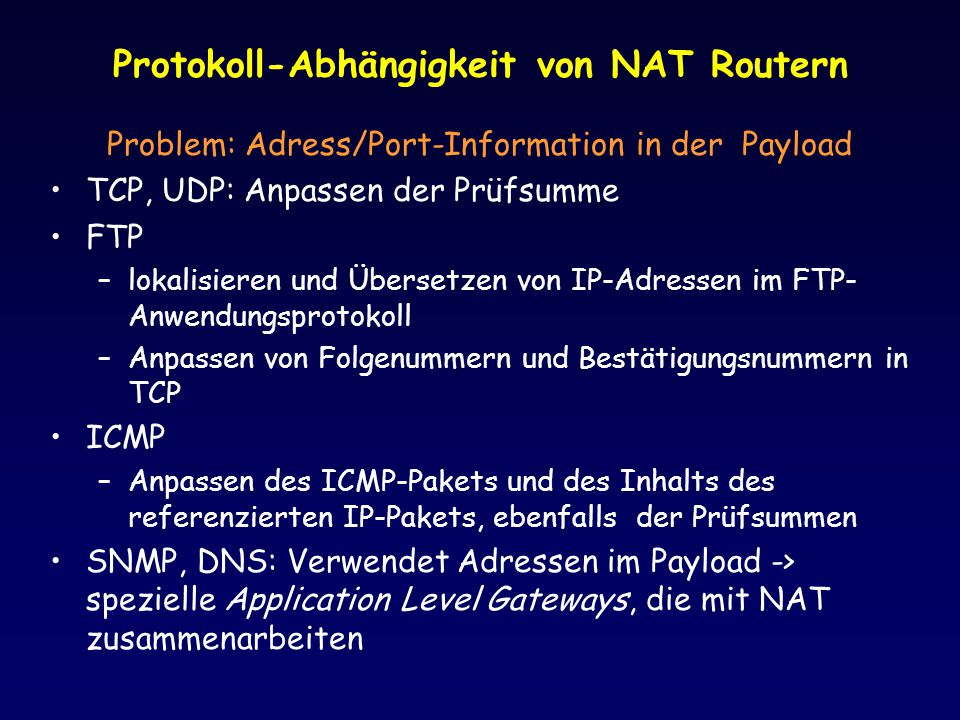 Protokoll-Abhängigkeit von NAT Routern