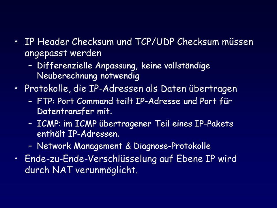 IP Header Checksum und TCP/UDP Checksum müssen angepasst werden