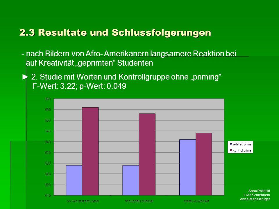 2.3 Resultate und Schlussfolgerungen