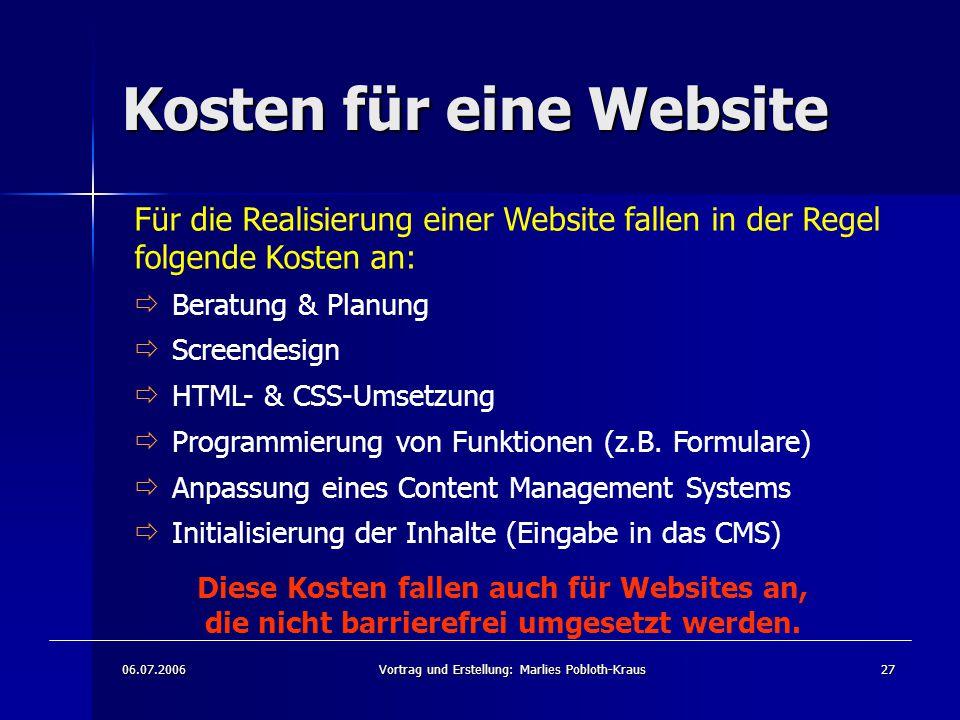 Kosten für eine Website