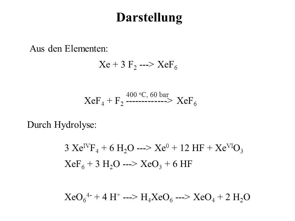 Darstellung Aus den Elementen: Xe + 3 F2 ---> XeF6