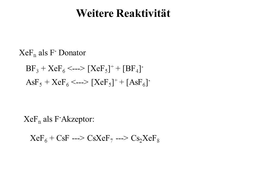 Weitere Reaktivität XeFn als F- Donator