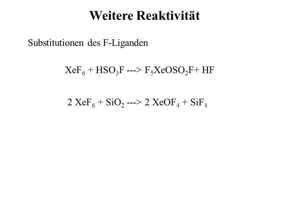 Weitere Reaktivität Substitutionen des F-Liganden