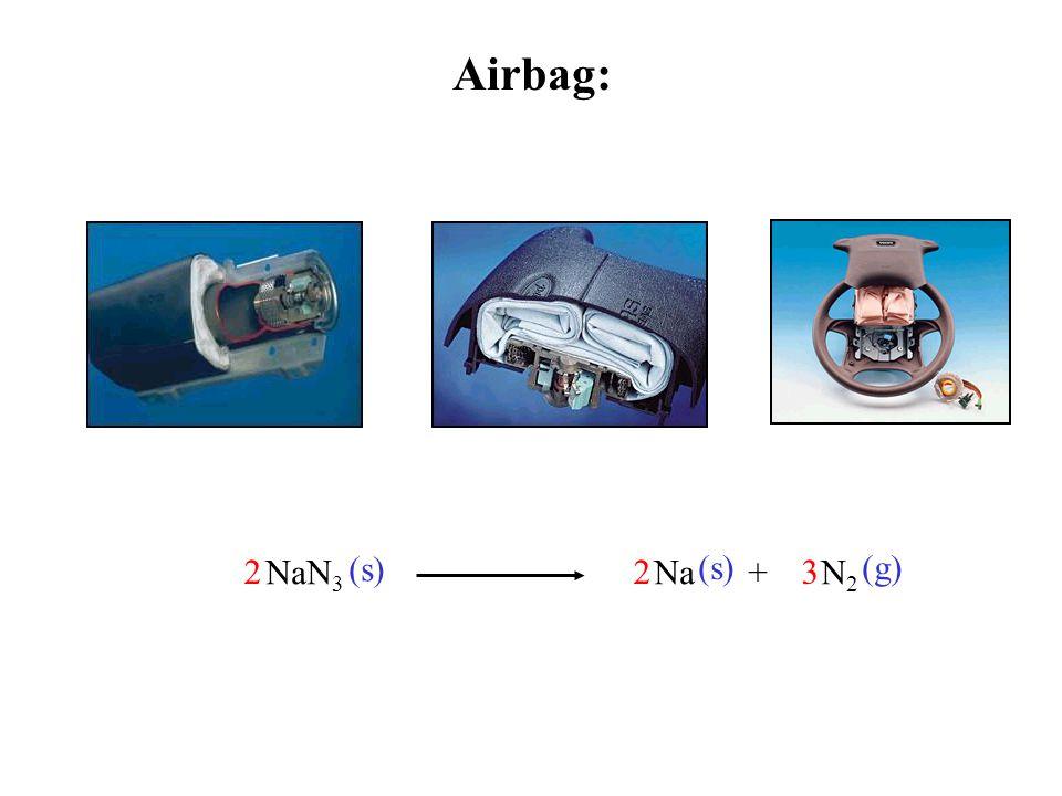 Airbag: 2 3 NaN3 Na + N2 (s) (g)