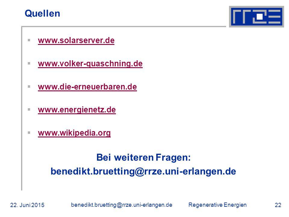 Bei weiteren Fragen: benedikt.bruetting@rrze.uni-erlangen.de