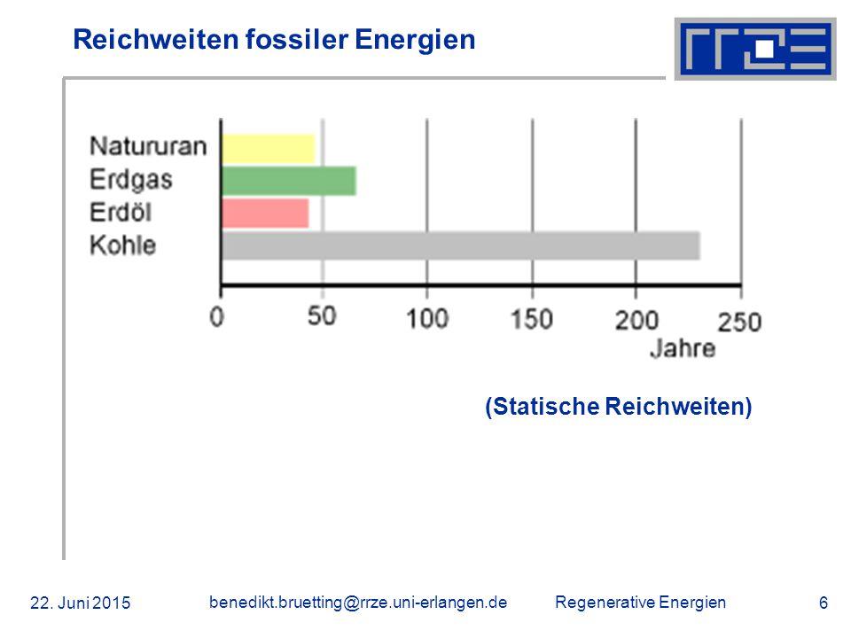 Reichweiten fossiler Energien