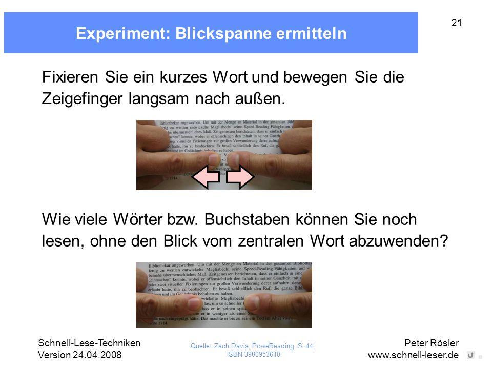 Experiment: Blickspanne ermitteln