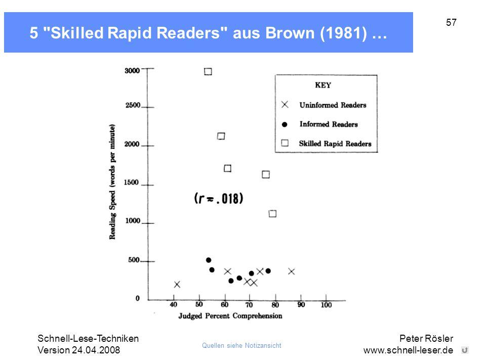 5 Skilled Rapid Readers aus Brown (1981) …