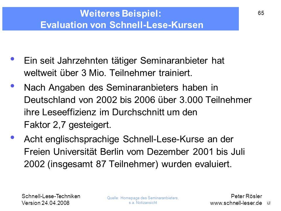 Weiteres Beispiel: Evaluation von Schnell-Lese-Kursen