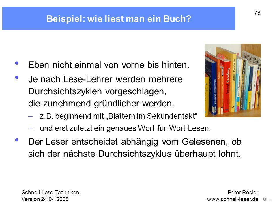 Beispiel: wie liest man ein Buch