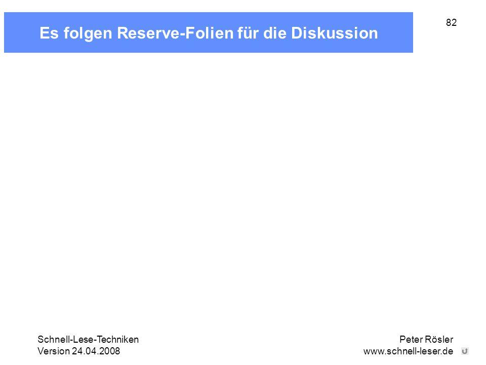 Es folgen Reserve-Folien für die Diskussion