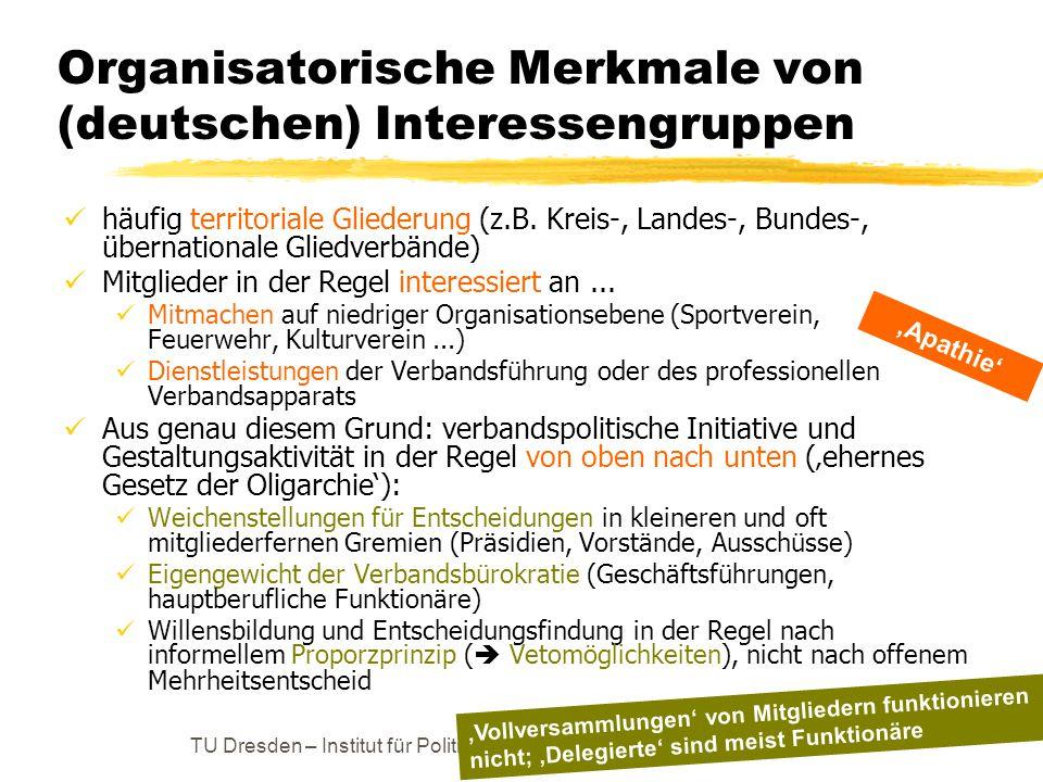 Organisatorische Merkmale von (deutschen) Interessengruppen