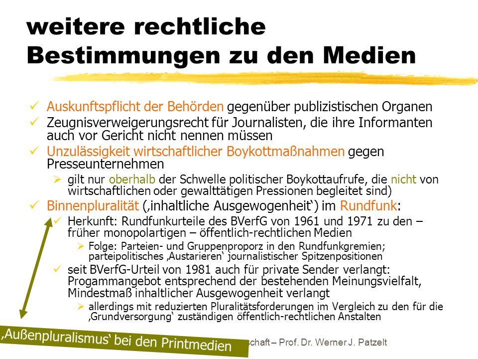 weitere rechtliche Bestimmungen zu den Medien